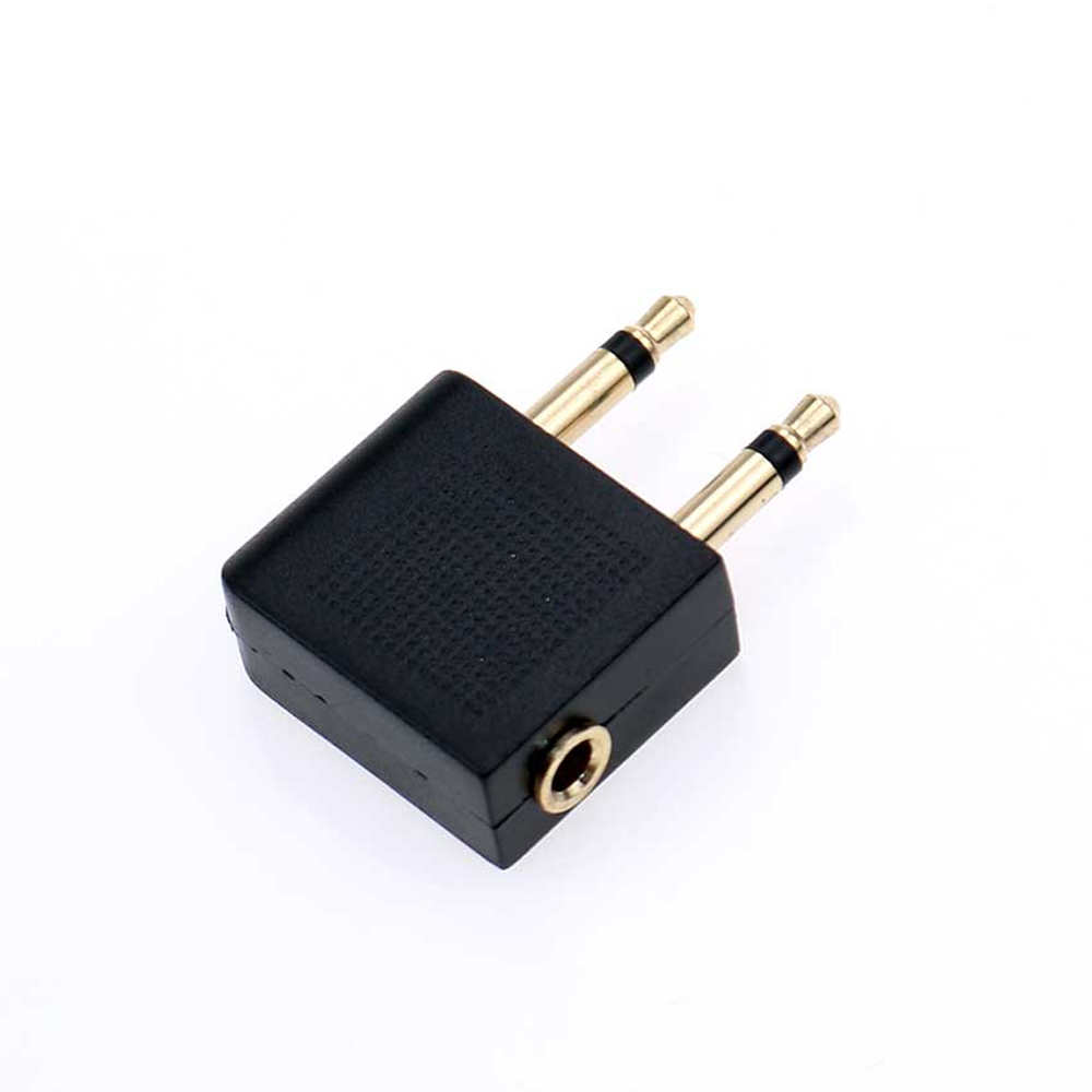 Airplane Headphone Adaptor - Gold Plated 3.5mm Female to Double Male