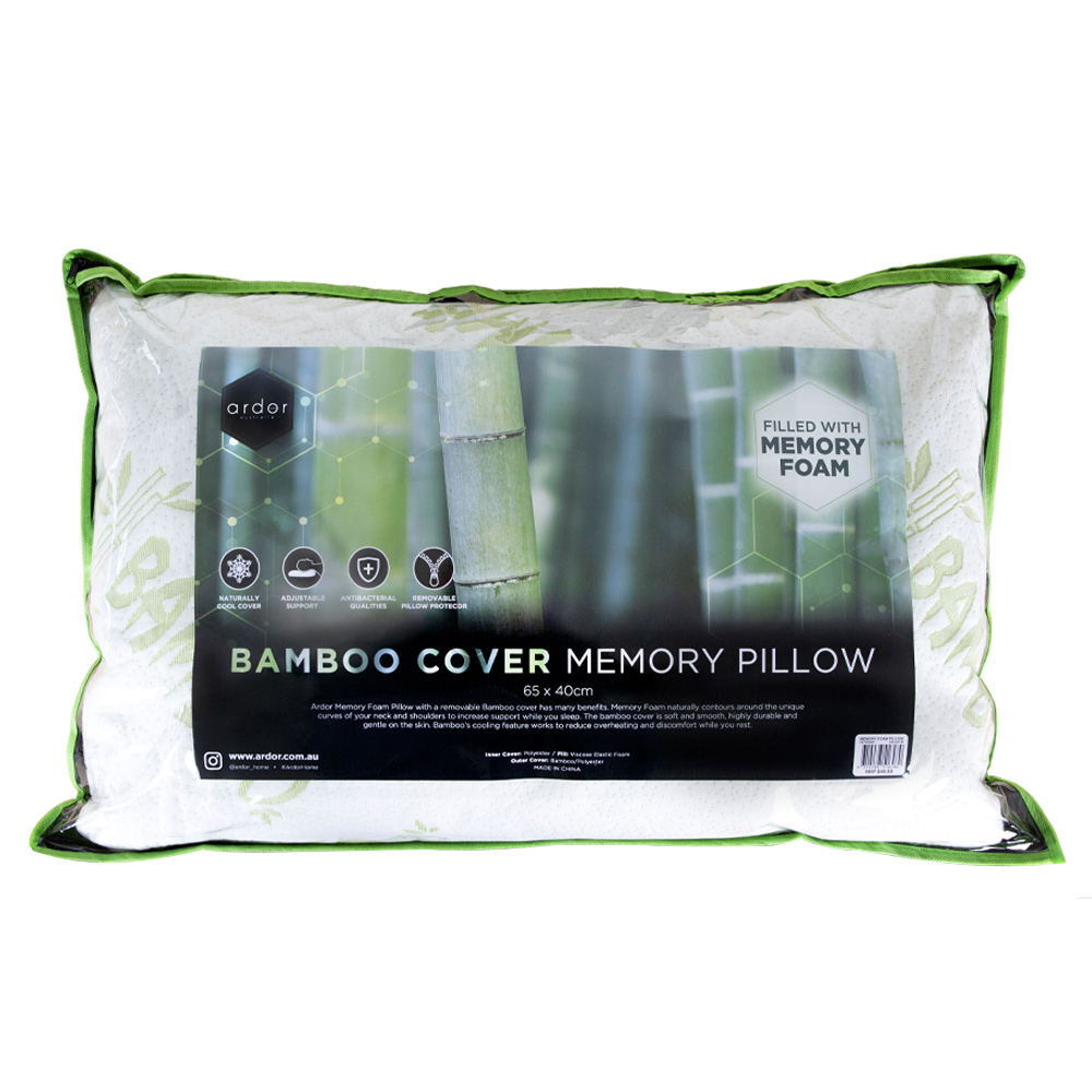 Ardor Home Memory Foam Bamboo Covered Pillow