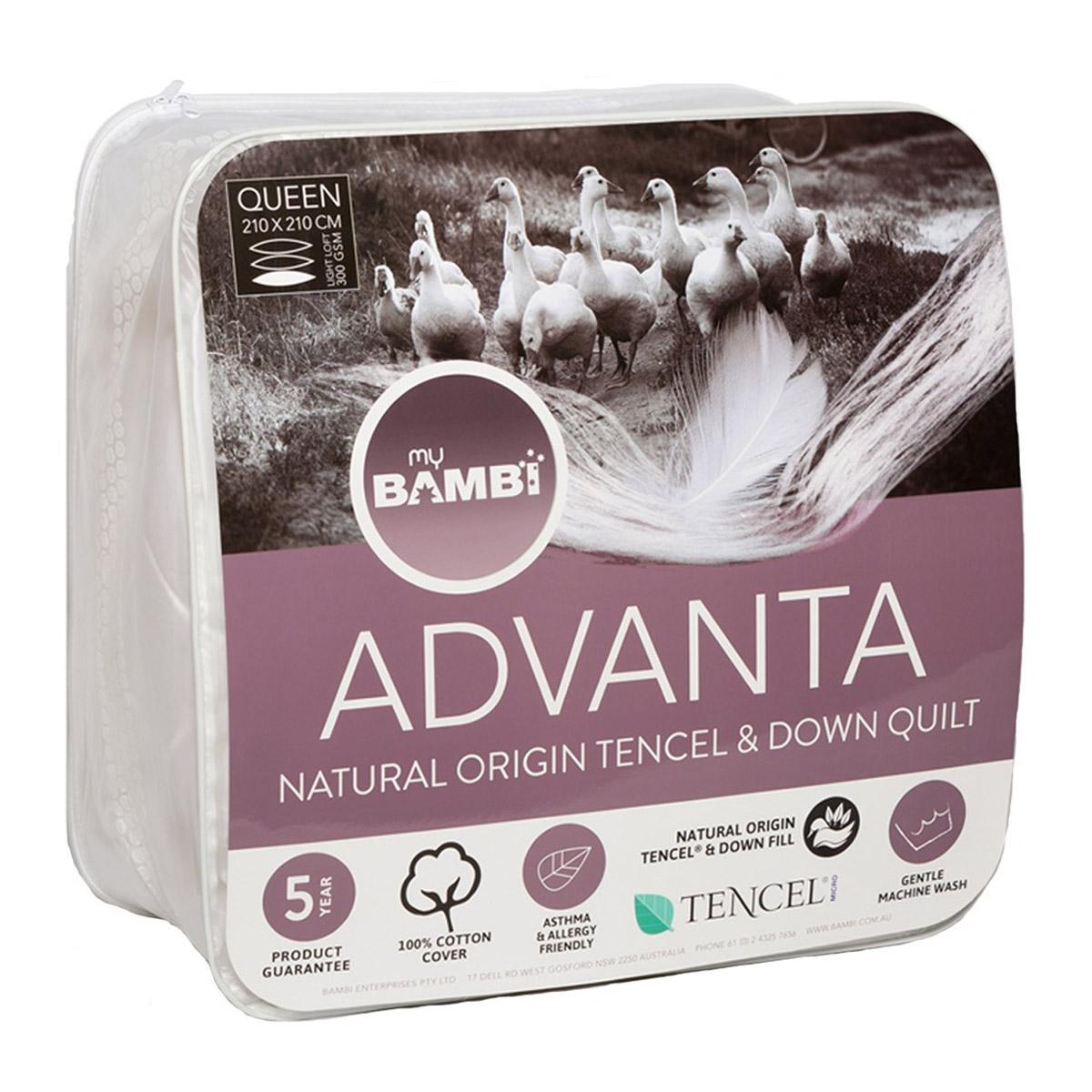 Bambi Advanta Natural Tencel and 70% Goose Down Quilt