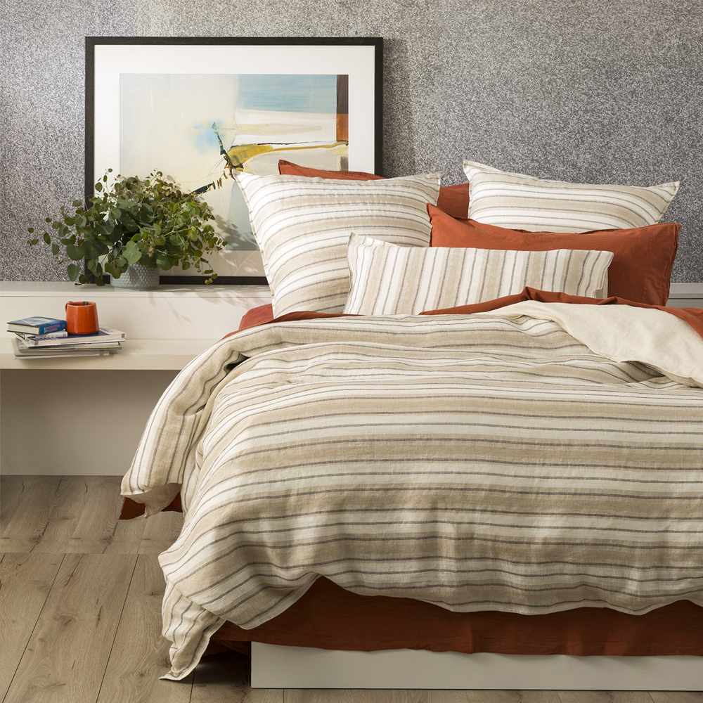 Renee Taylor Bardot Yarn Dyed 100% French Linen Quilt Cover Set