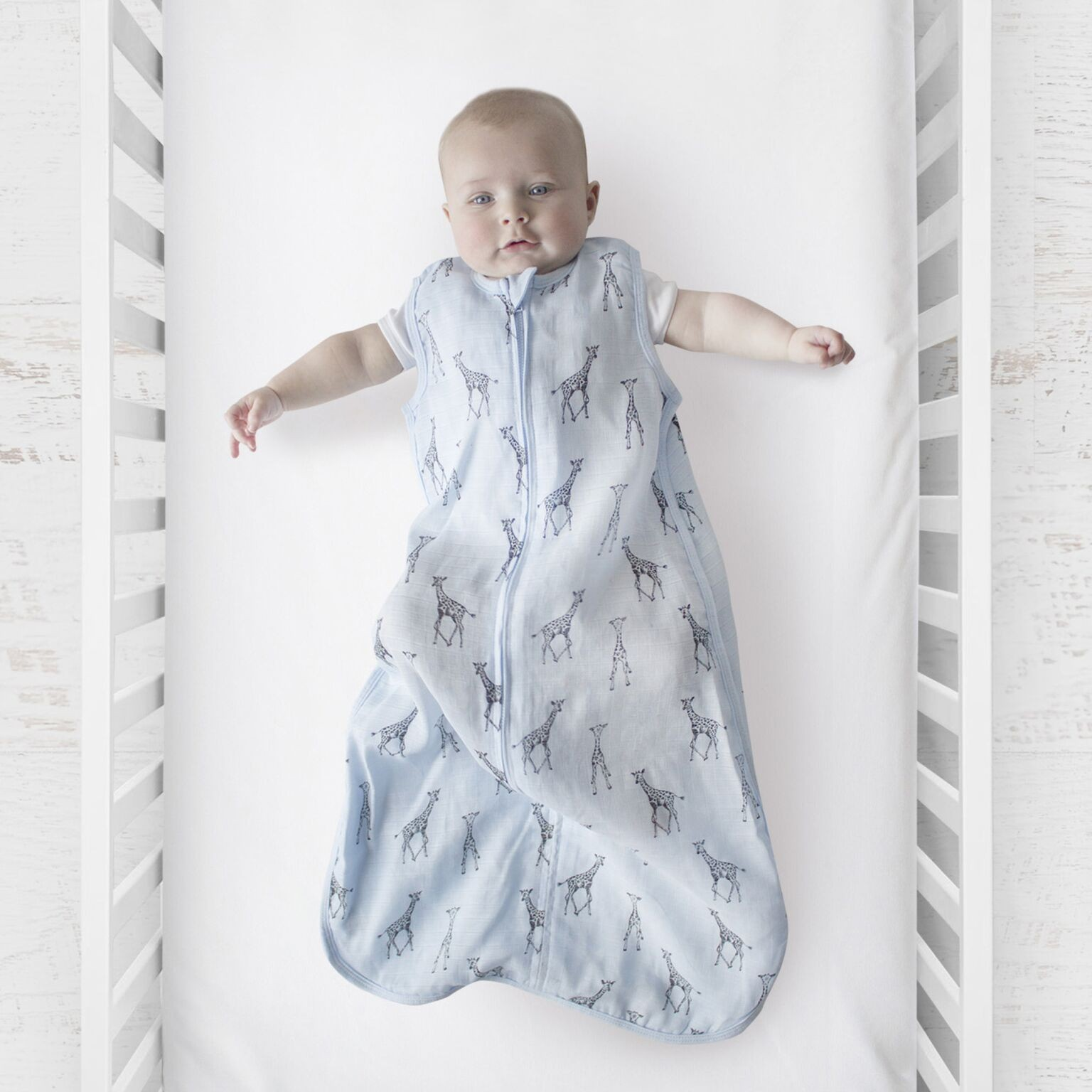 Plum Blue Giraffe Muslin Sleep Bag 0.5 Tog