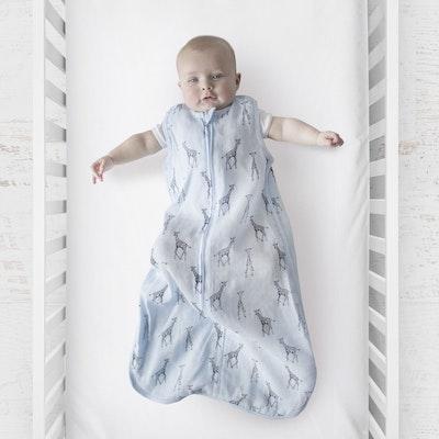 Plum Blue Giraffe Muslin Sleep Bag 0.5 Tog with baby