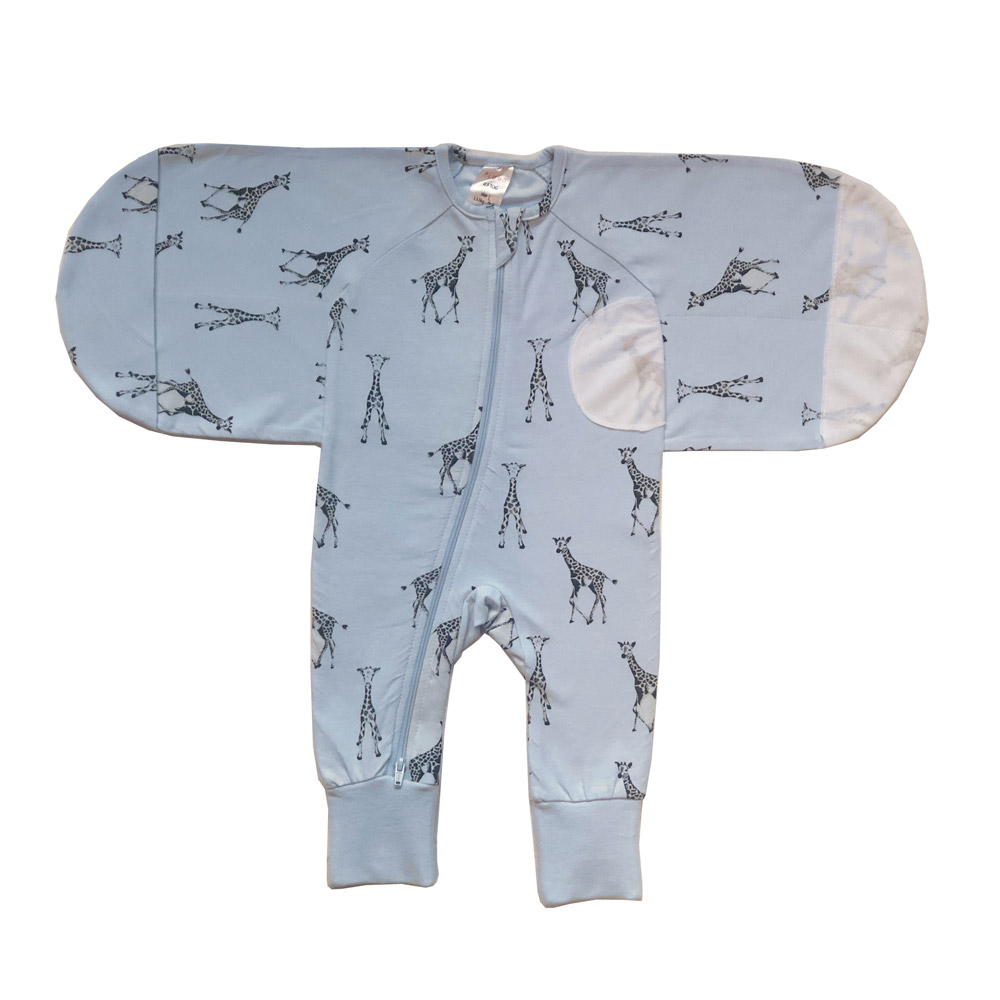 Plum Blue Giraffe Swaddle Suit 0.5 Tog