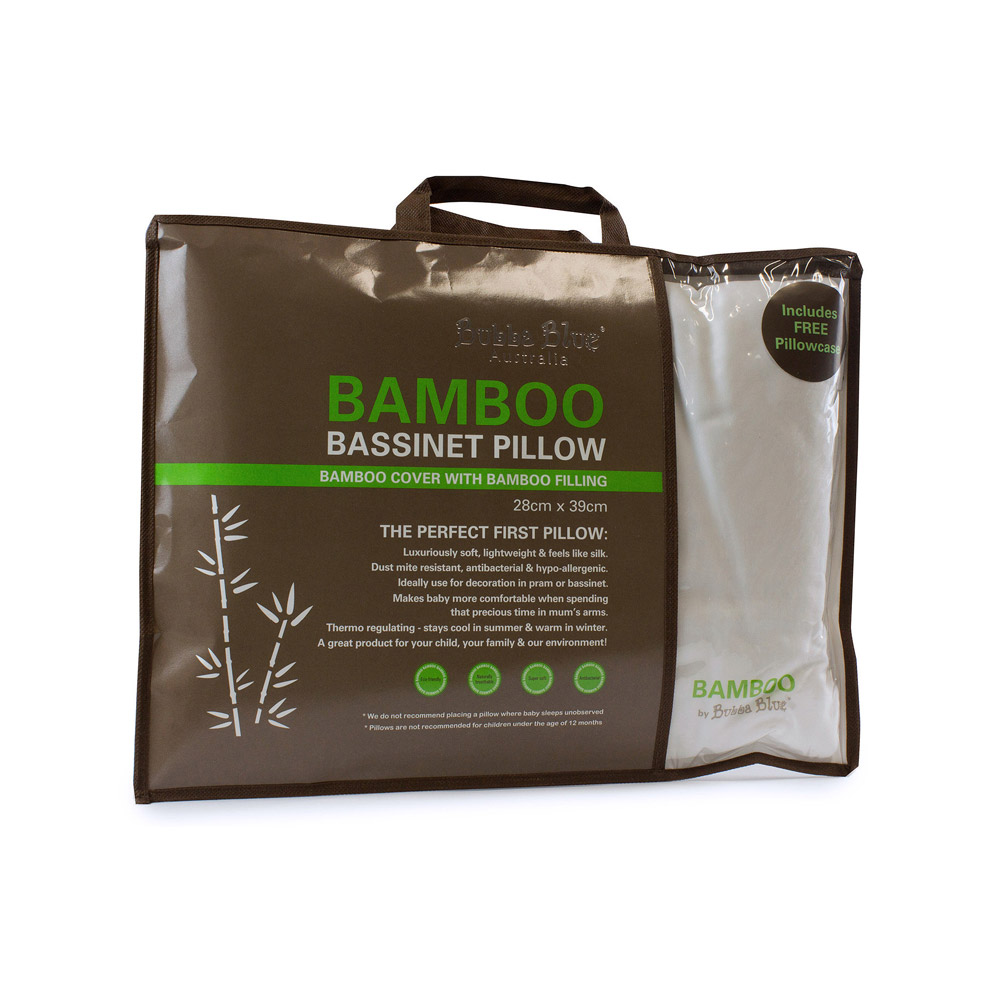 Bubba Blue White Bamboo Bassinet Pillow with Bamboo Pillowcase