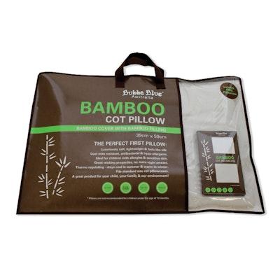 Bubba Blue White Bamboo Cot Pillow with Bamboo Pillowcase