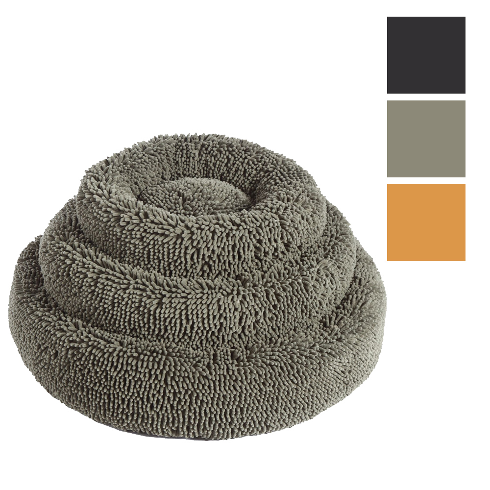 Charlie's Pet Calming Chenille Plush Round Pet Bed