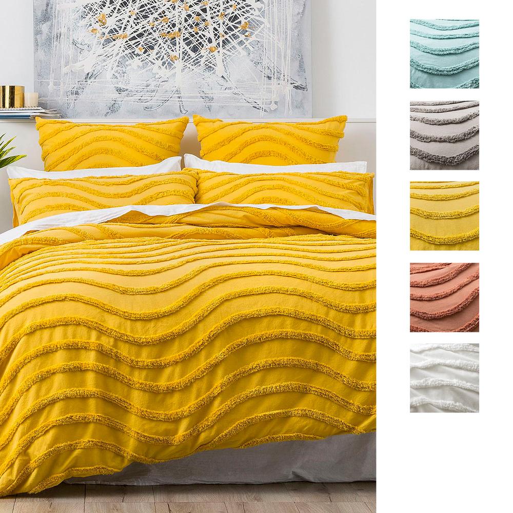 Cloud Linen Wave 100% Cotton Chenille Vintage Washed Tufted Quilt Cover Set