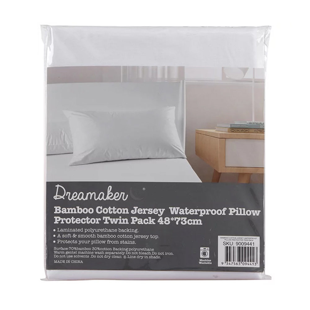 Dreamaker Waterproof Bamboo Cotton Jersey Pillow Protector Twin Pack