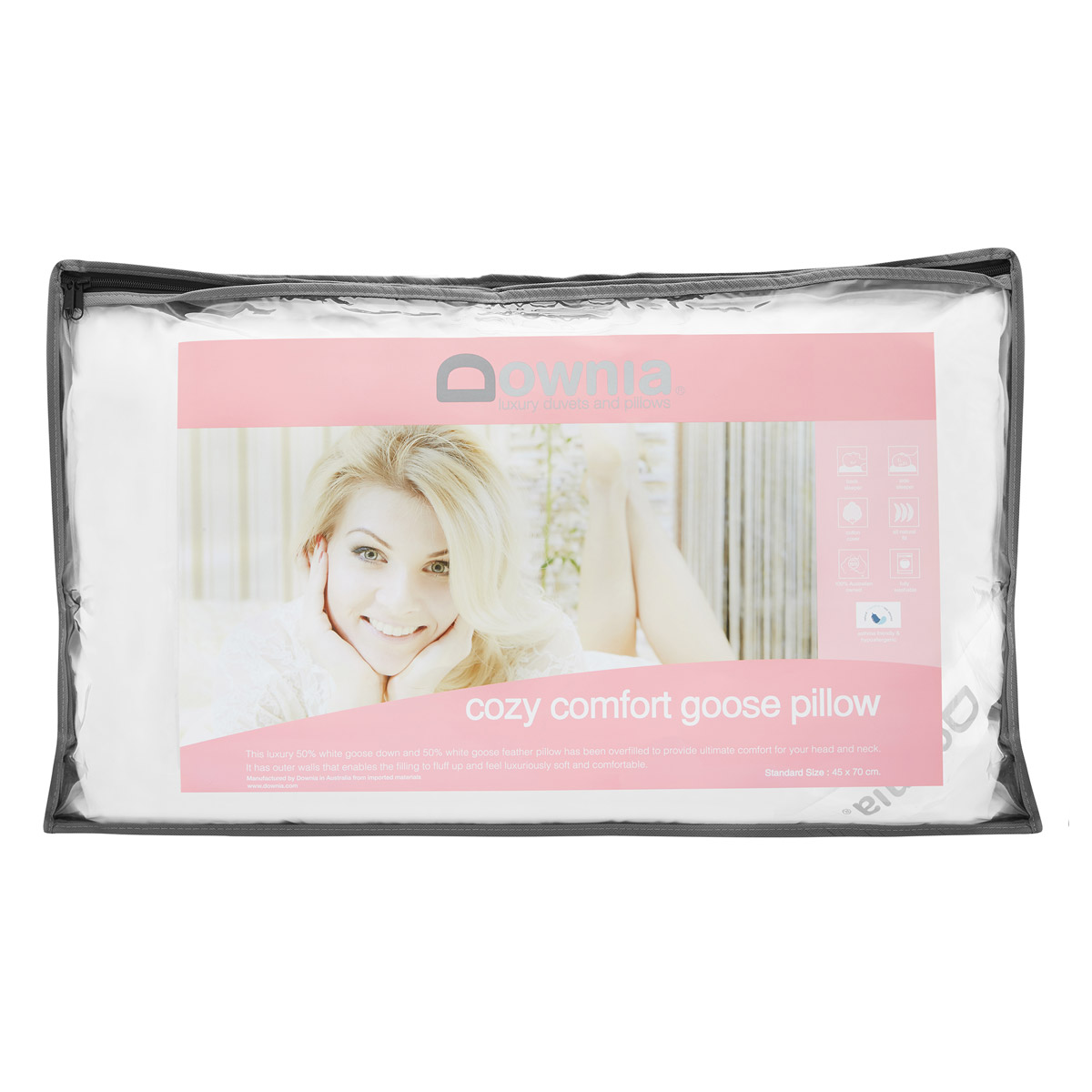 Downia Cozy Comfort 50% White Goose Down and Feather Pillow