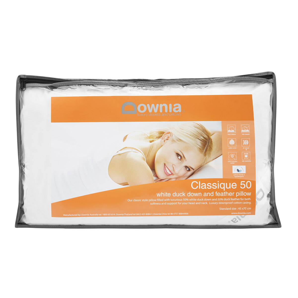 Downia 50% Duck Down and Feather Pillow