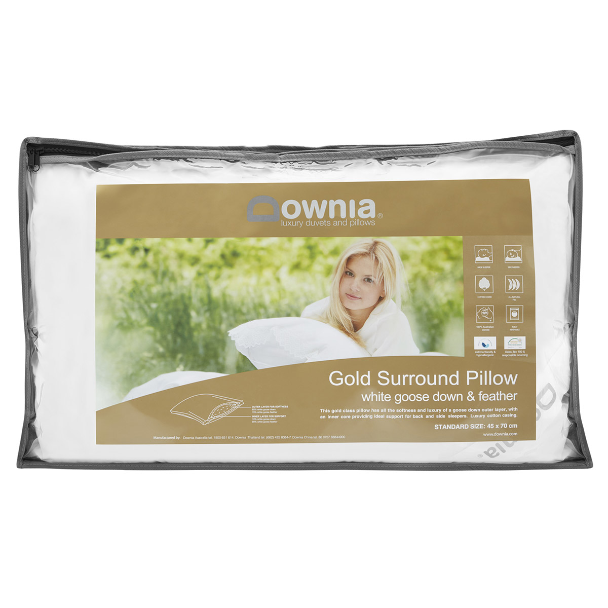Downia Gold White Goose Down and Feather Surround Pillow