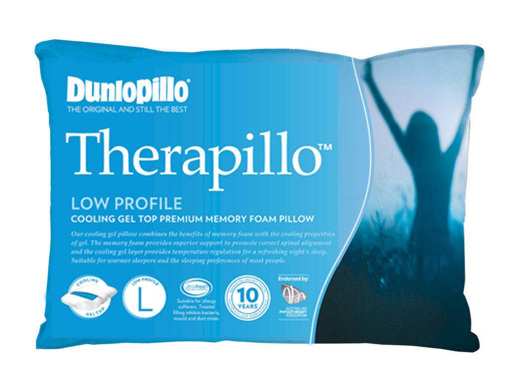 Dunlopillo Therapillo Premium Memory Foam Cooling Gel Pillow Low Profile