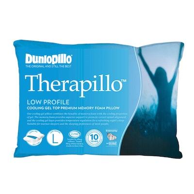 Dunlopillo Therapillo Premium Memory Foam Cooling Gel Pillow Low Profile