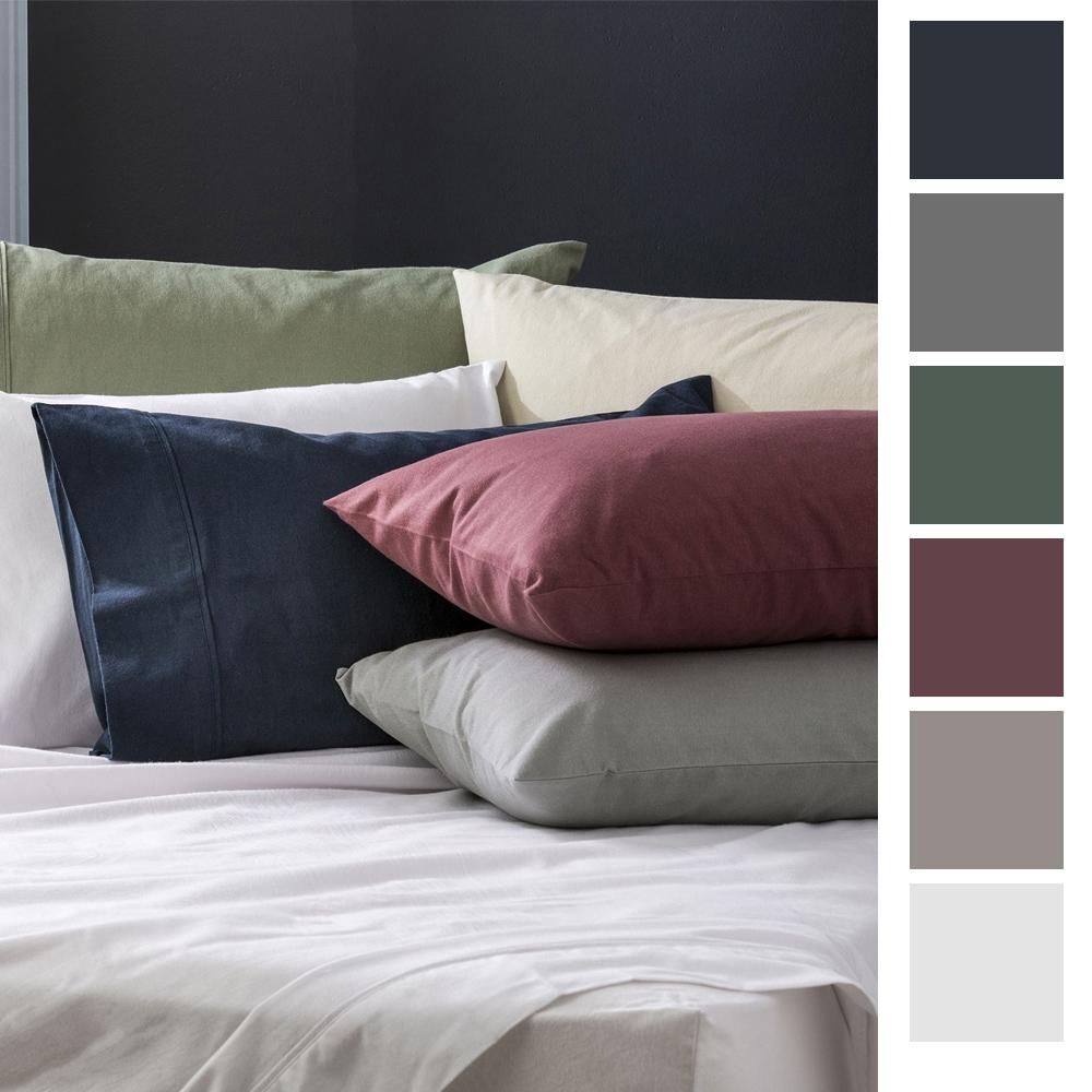 Park Avenue Egyptian Cotton Flannelette Plain Dyed Sheet Set