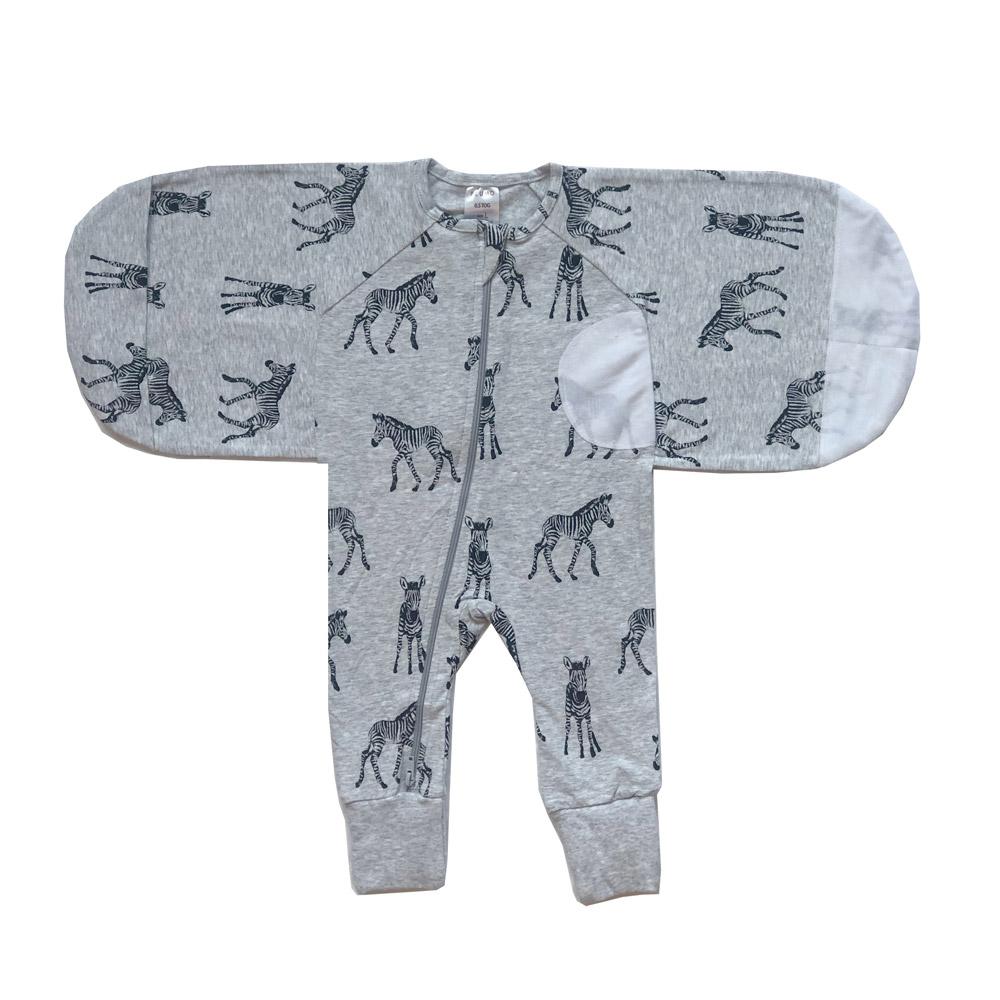 Plum Grey Zebra Swaddle Suit 0.5 Tog