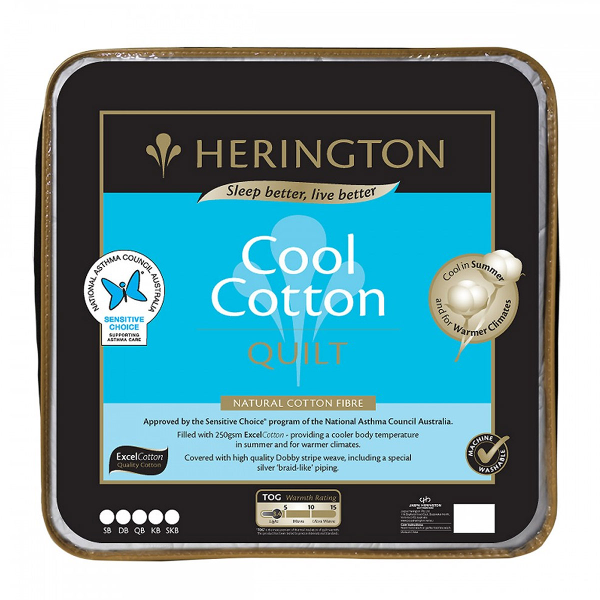 Herington Lightweight Cool Cotton Quilt 250gsm