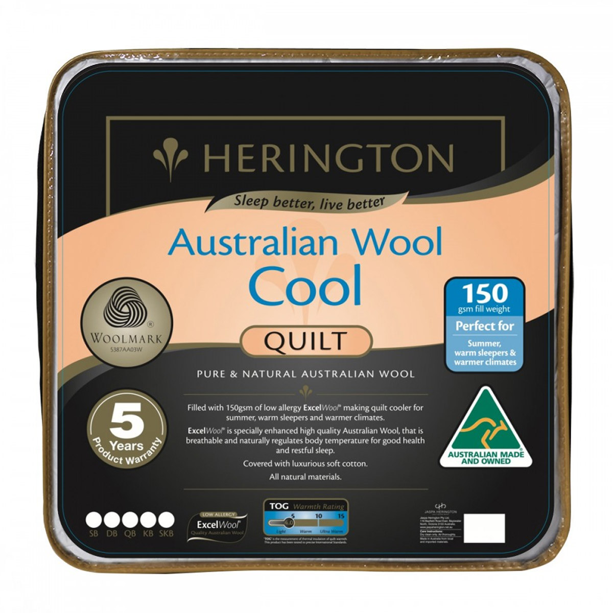 Herington Australian Cool Wool Summer Quilt 150gsm