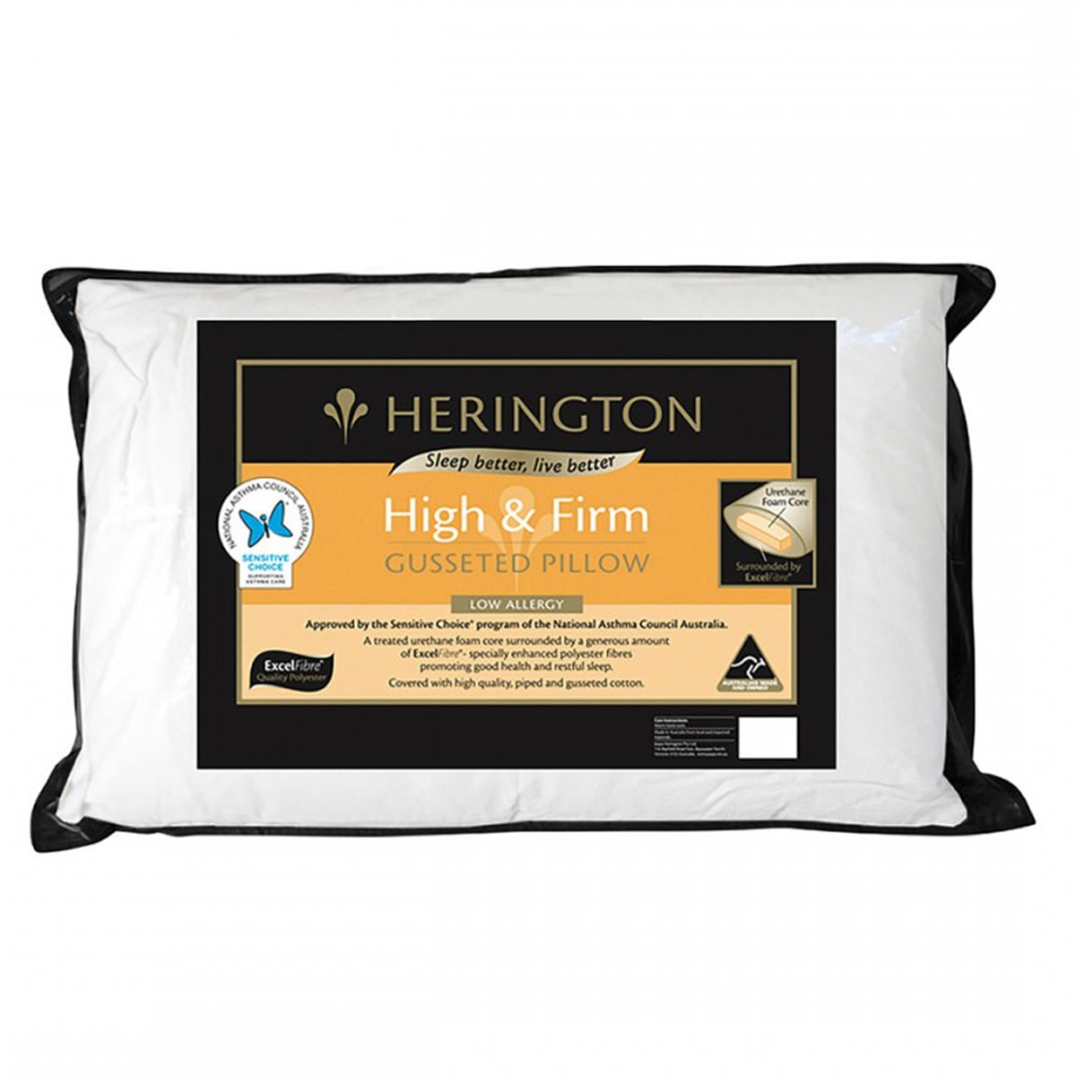 Herington ExcelFibre Gusseted Pillow - Profile and Firmness Options