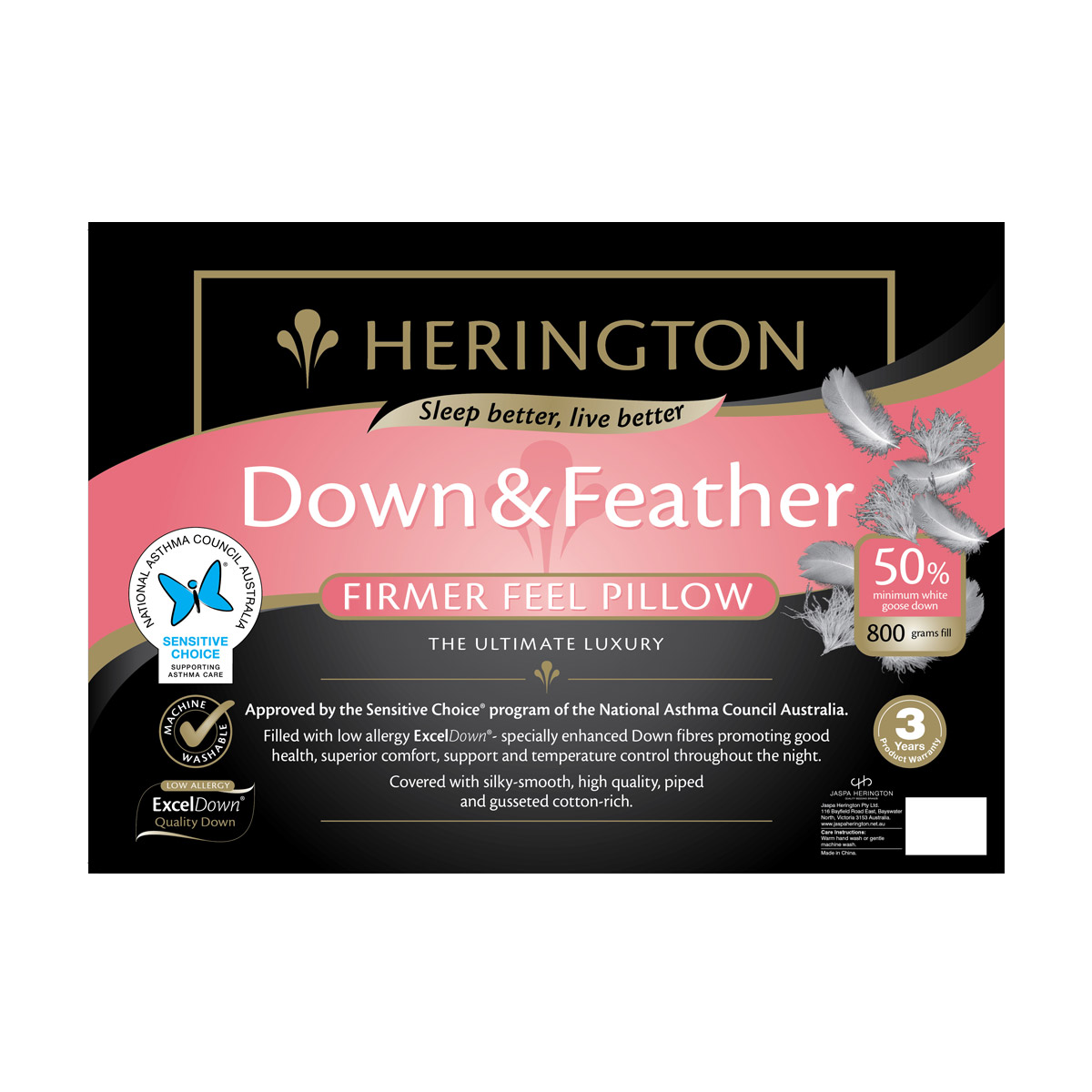 Herington Luxury 50% White Goose Down and Feather King Pillow