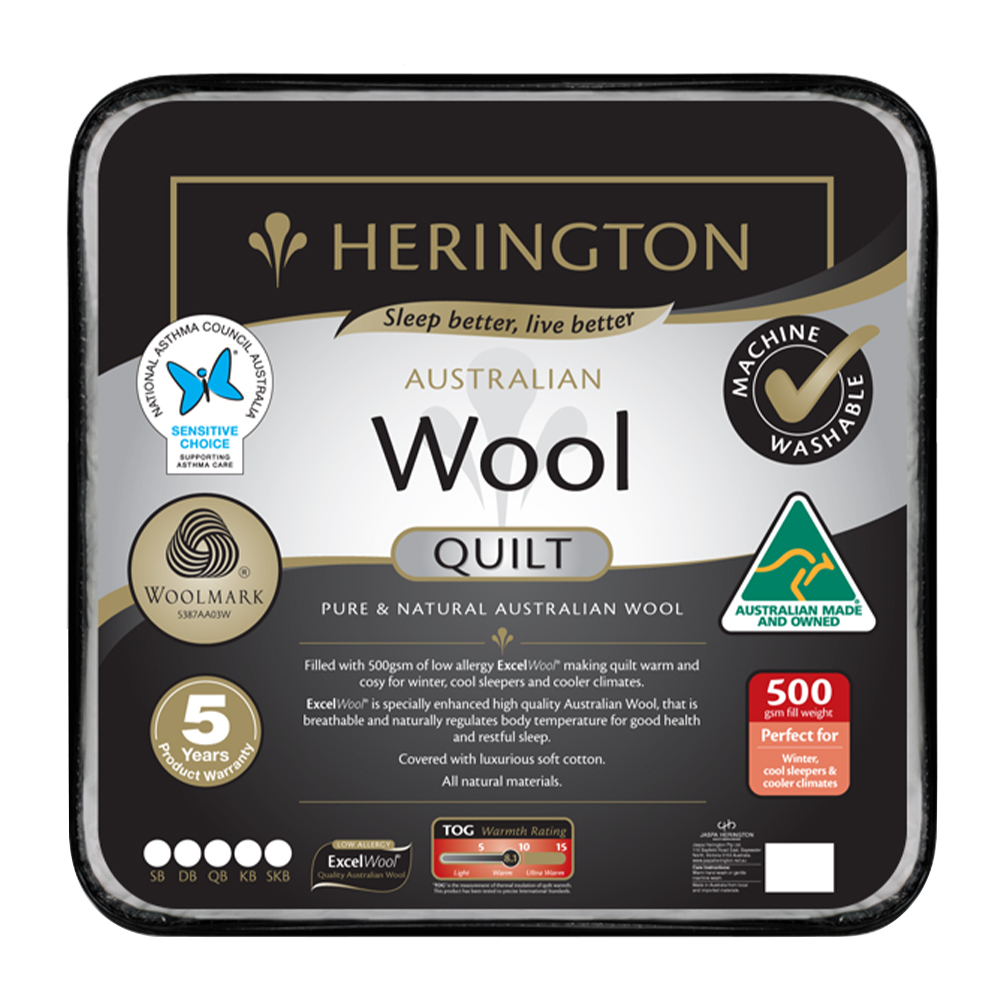 Herington Premium Washable Australian Made Wool Quilt 500gsm