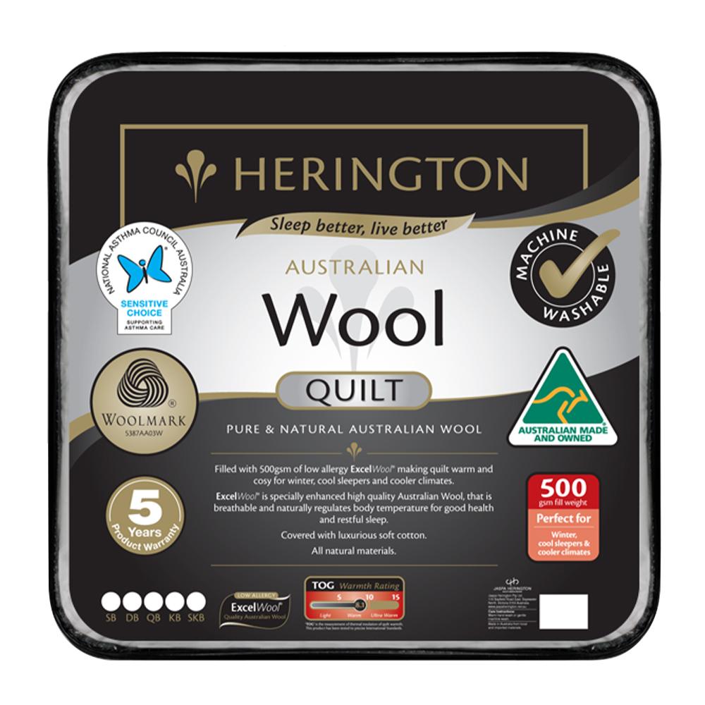 Herington Premium Washable Australian Made Wool Quilt 500gsm