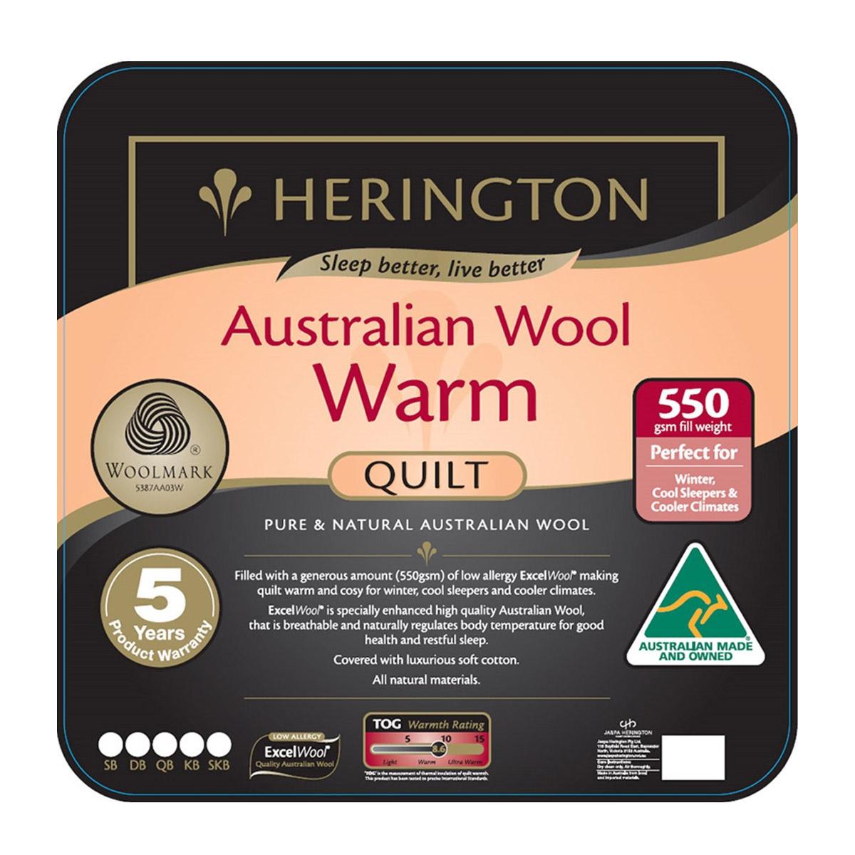 Herington Winter Warmth Australian Wool Quilt
