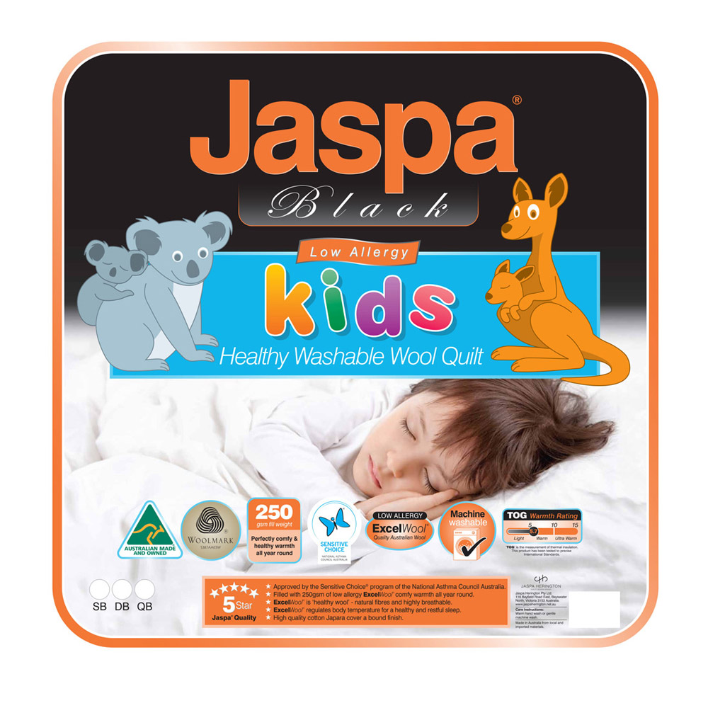 Jaspa Black Kids Wool Quilt 250GSM