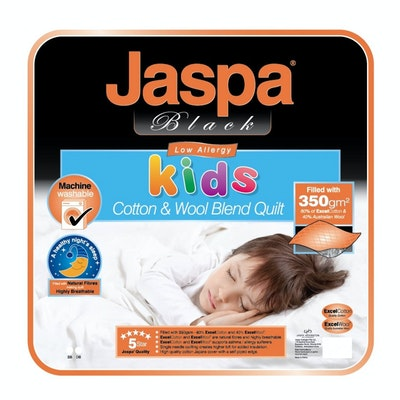 Jaspa Black Cotton and Wool Kids Quilt