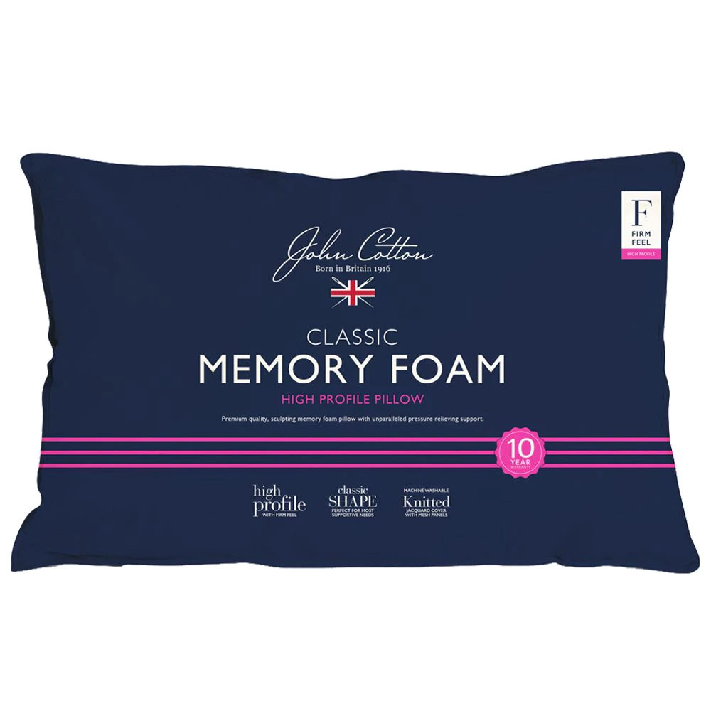 John Cotton Classic Memory Foam Pillow High Profile