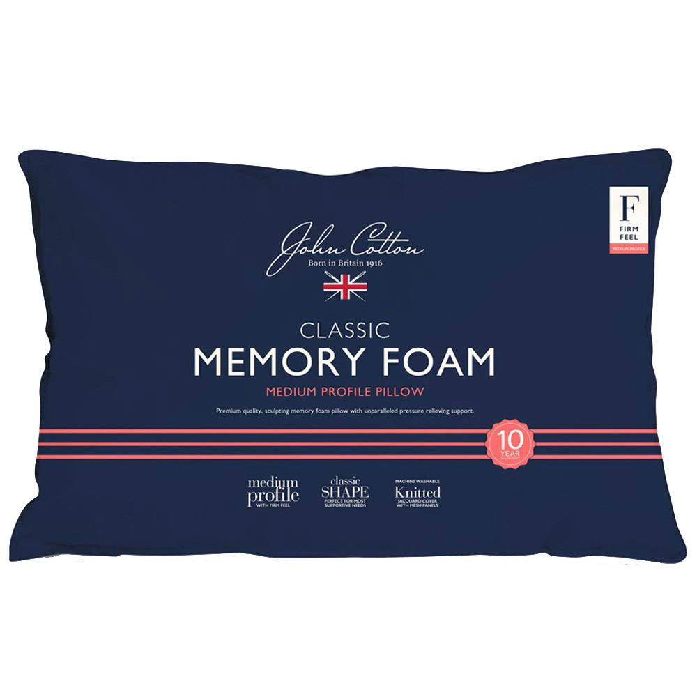 John Cotton Classic Memory Foam Pillow Medium Profile