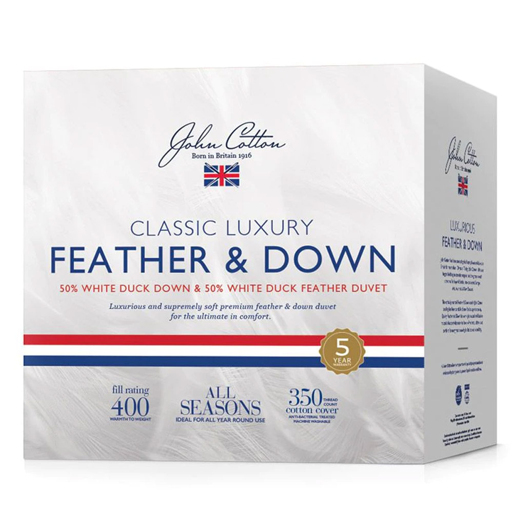 John Cotton Classic Luxury 50% White Duck Down & Feather Quilt