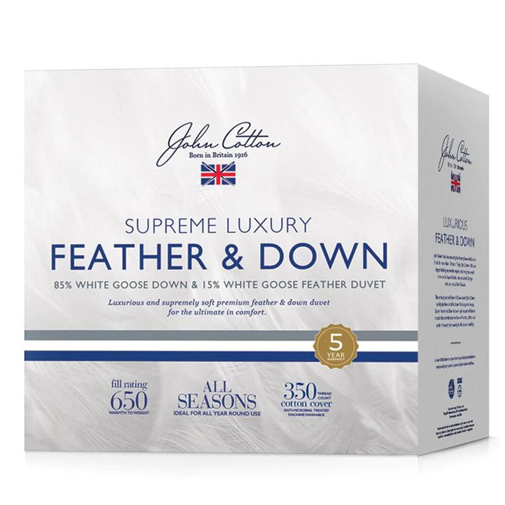 John Cotton Supreme Luxury 85% White Goose Down & Feather Quilt