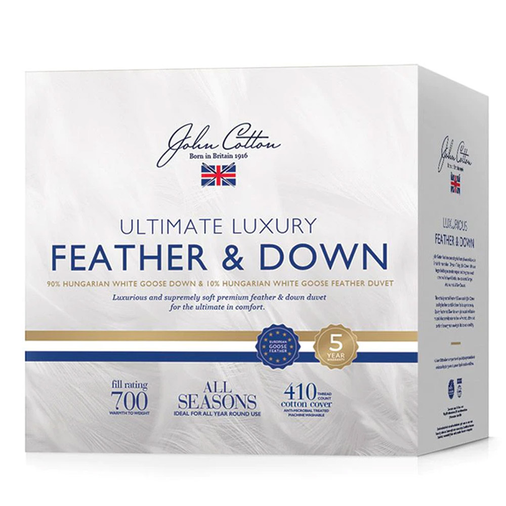 John Cotton Ultimate Luxury 90% White Goose Down & Feather Quilt