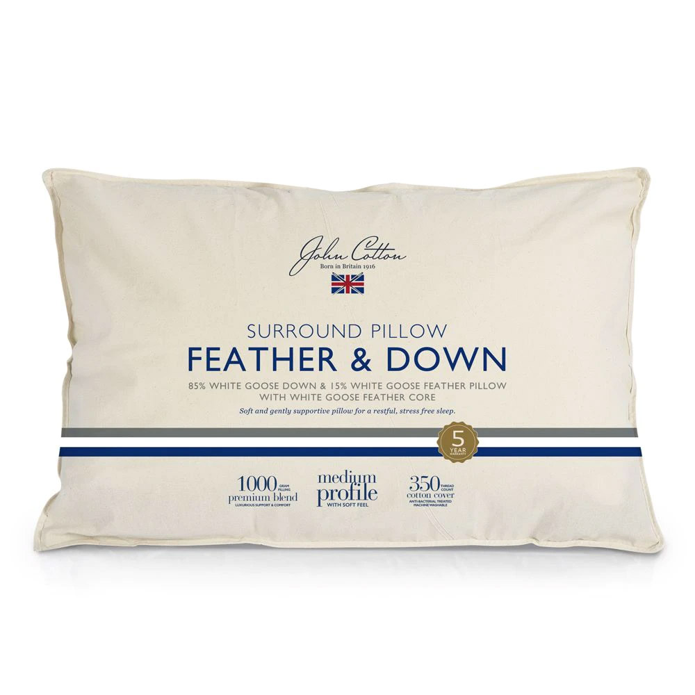 John Cotton Supreme Luxury 85% White Goose Down & Feather Pillow