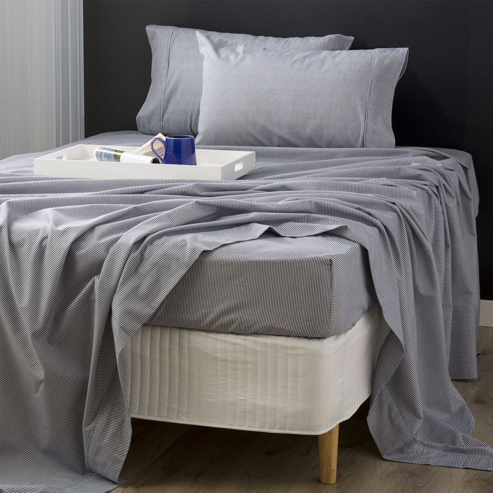 Park Avenue Leo Stripes Egyptian Cotton Flannelette Sheet Set