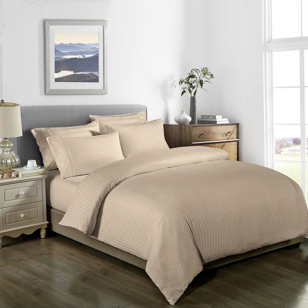 1000TC Striped Bamboo Blend Quilt Cover Set