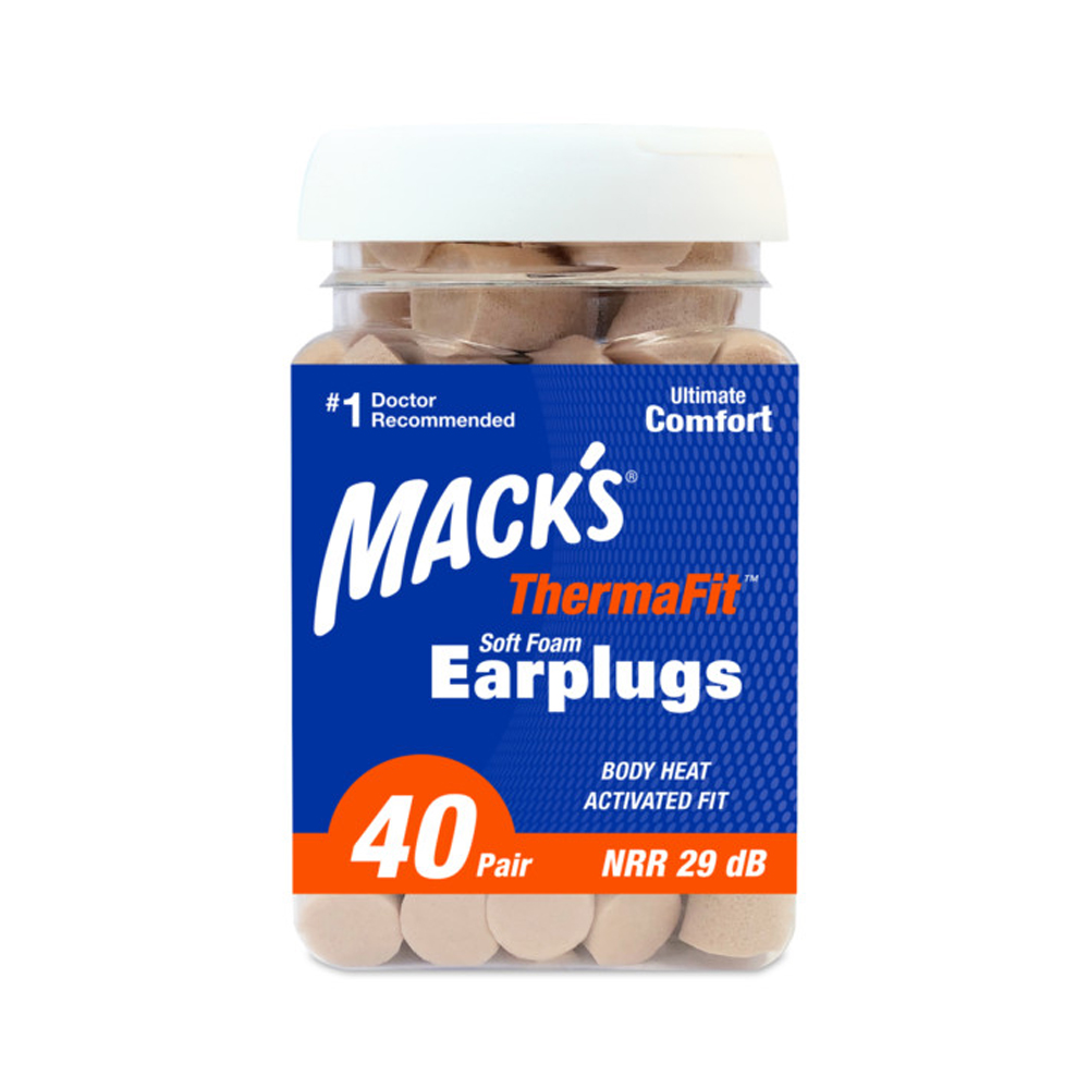 Macks ThermaFit Soft Foam Earplugs 40 Pairs