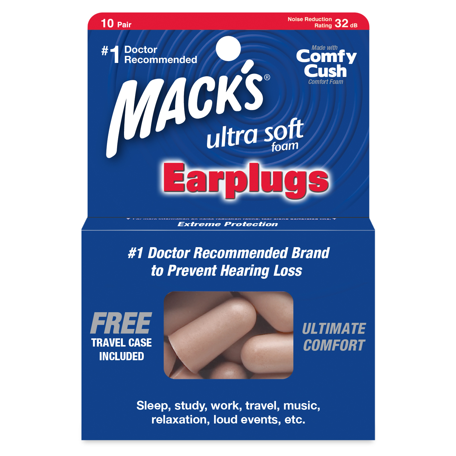 Mack's Safe Sound Ultra Soft Foam Ear Plugs