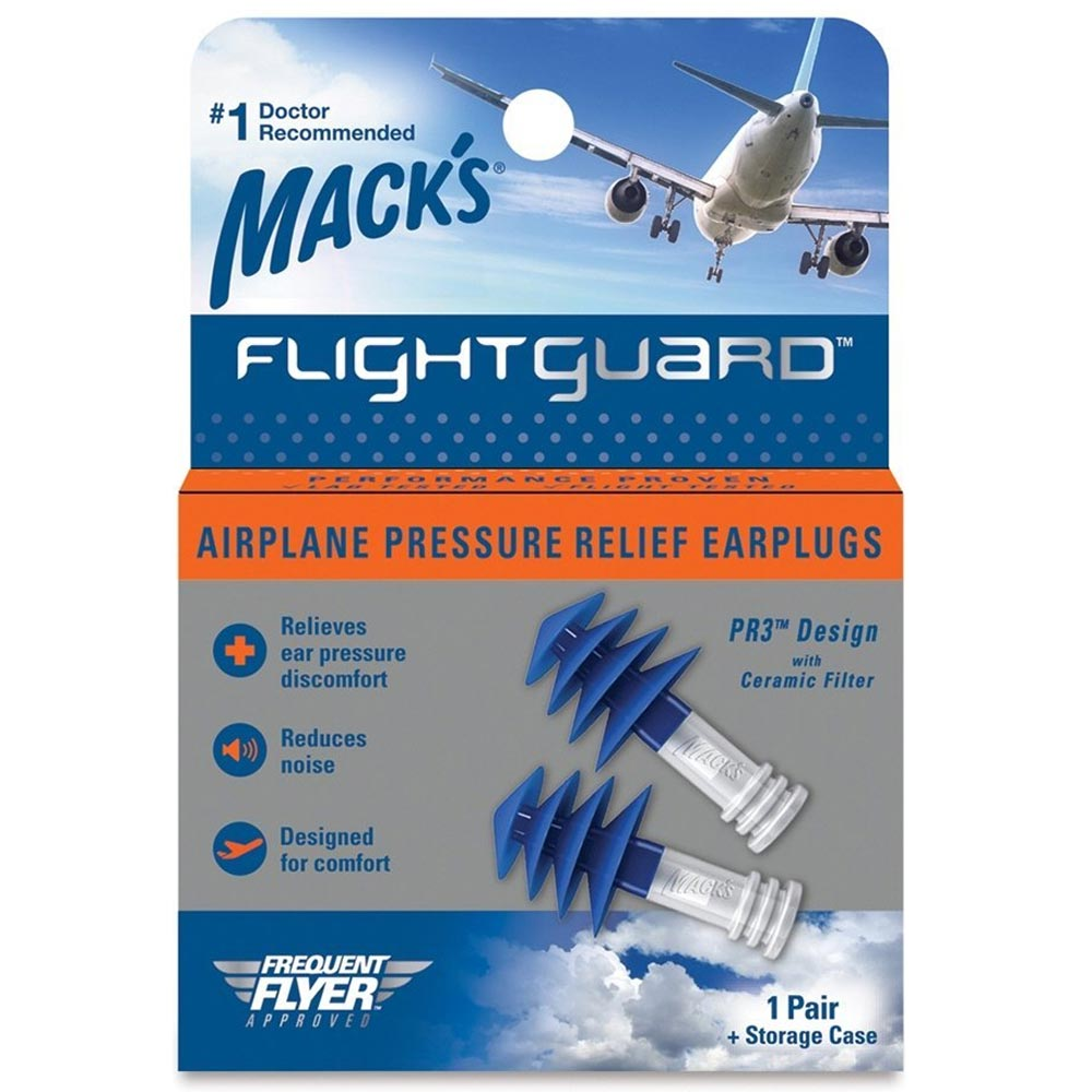 Mack's Flightguard Airplane Pressure Relief Reusable Ear Plugs