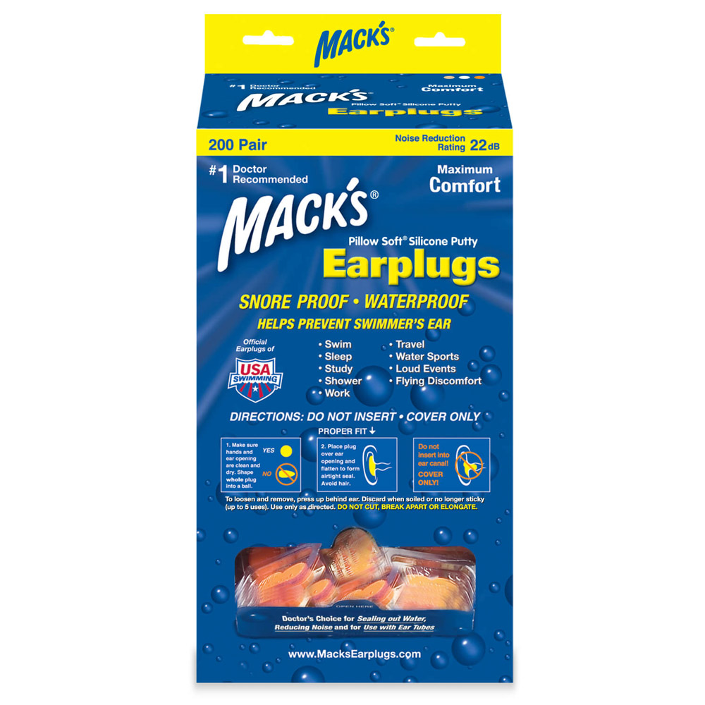 Mack's Mouldable Pillow Soft Orange Silicone Earplugs Bulk 200 Pairs