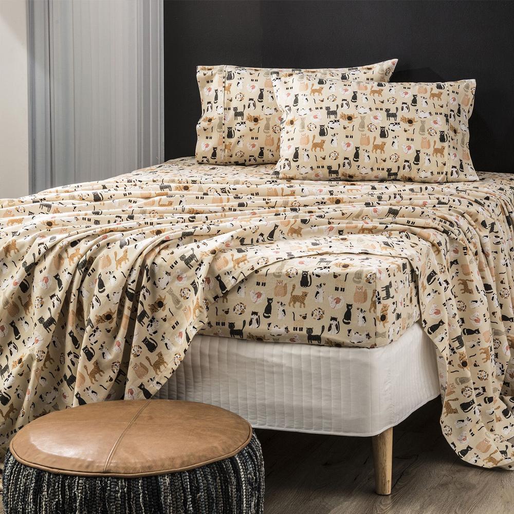 Park Avenue Misty Cats Egyptian Cotton Flannelette Sheet Set