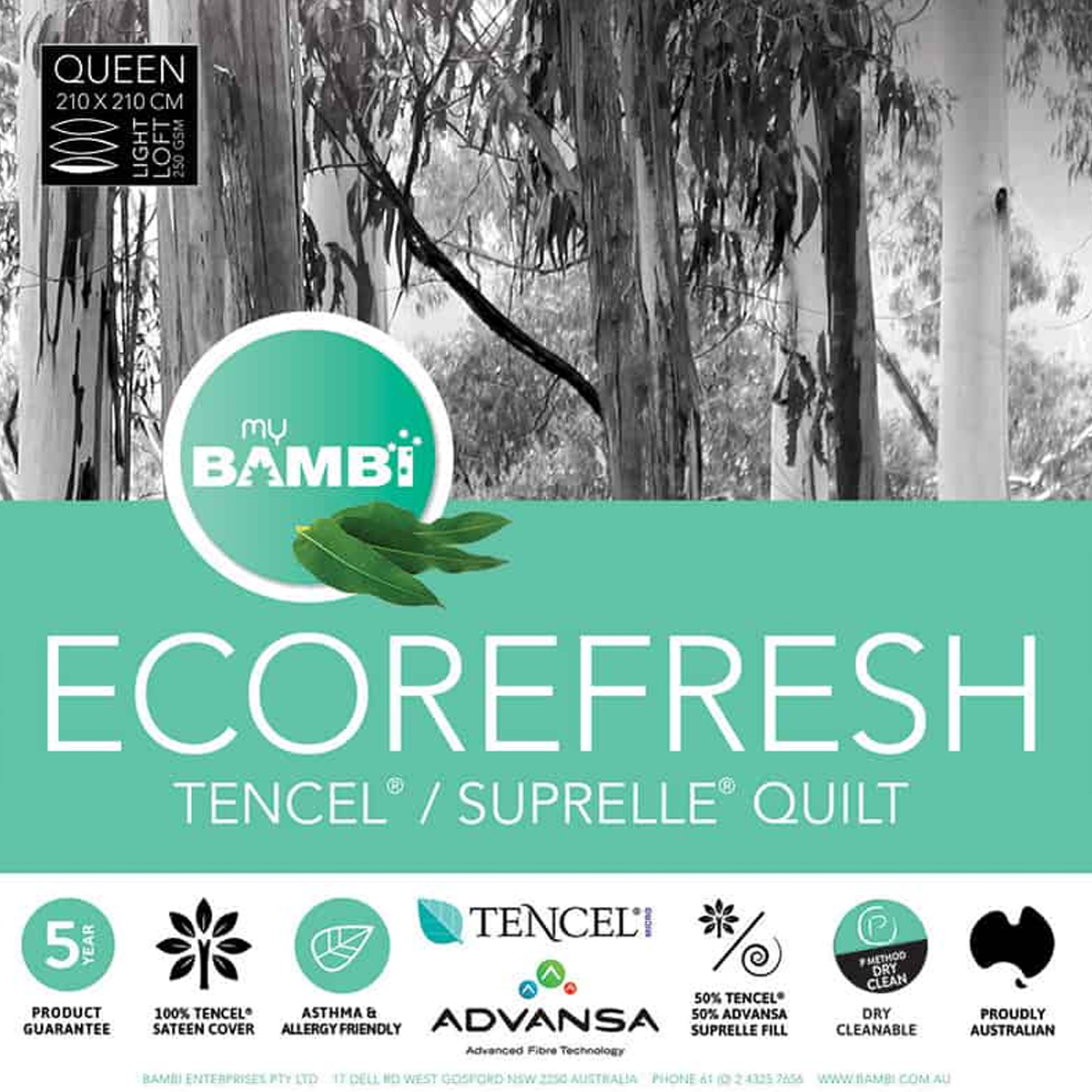 Bambi Eco Refresh Tencel and Suprelle Blend Quilt 250gsm
