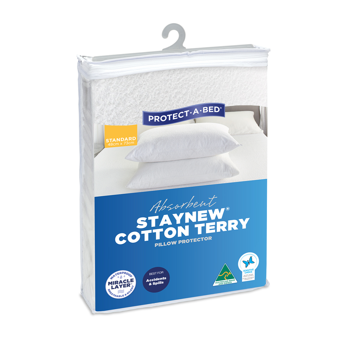 Protect-A-Bed Absorbent Cotton Terry Staynew Waterproof Pillow Protector