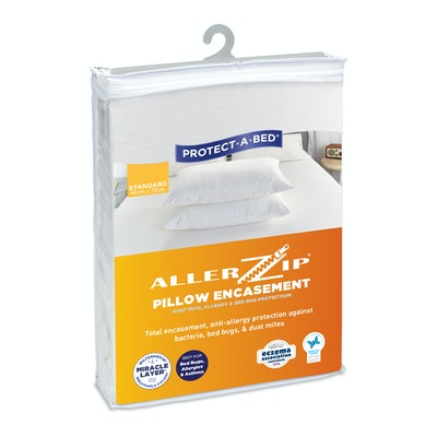 Protect-A-Bed Allerzip Smooth Anti-Allergy Fully Encased Waterproof Pillow Protector