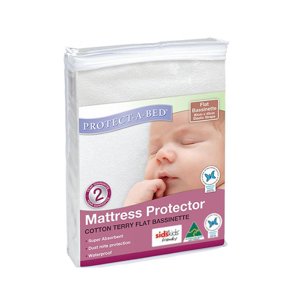 Protect A Bed Cotton Terry Bassinet Mattress Protector with Elastic Straps