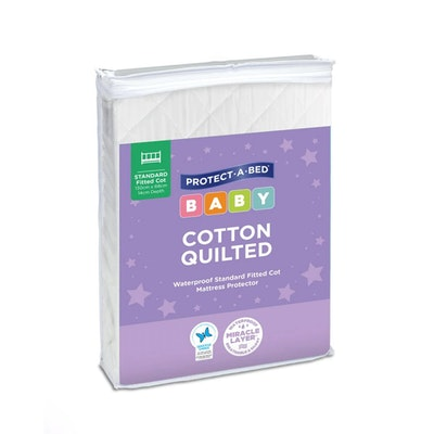 Protect A Bed Cotton Quilted Fitted Cot Mattress Protector - Standard