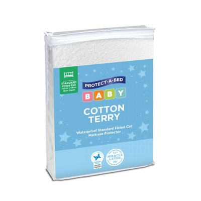 Protect A Bed Cotton Terry Fitted Cot Mattress Protector Standard