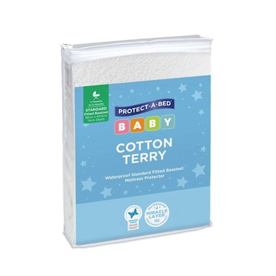 Protect A Bed Cotton Terry Fitted Bassinet Mattress Protector - Standard