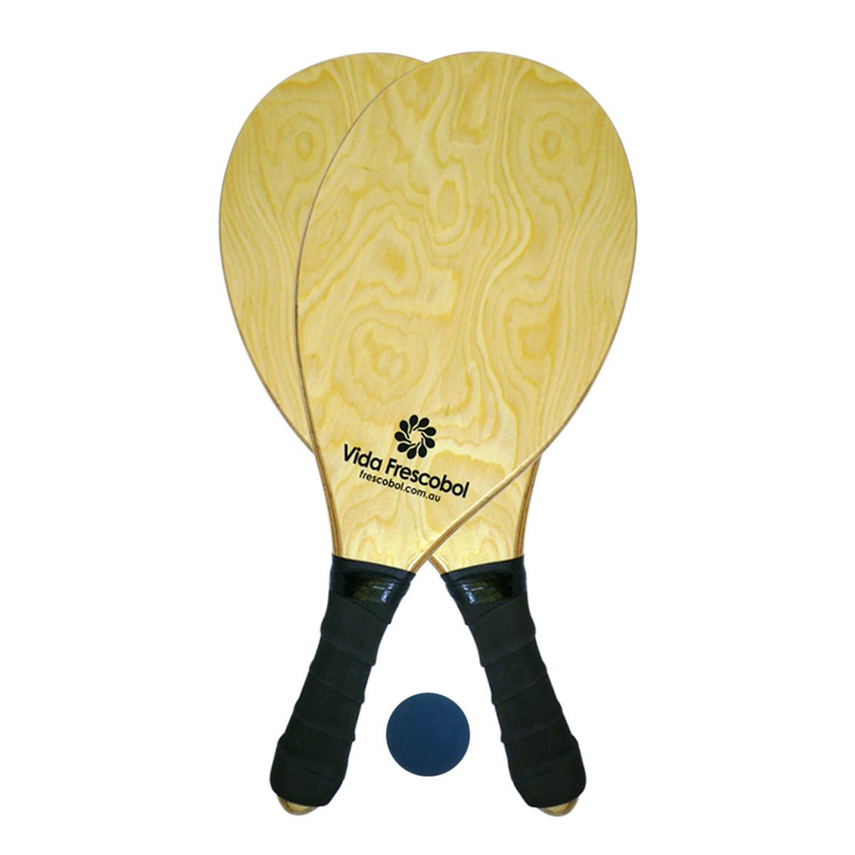 Vida Frescobol Blond Grain Beach Paddleball Racquet Set
