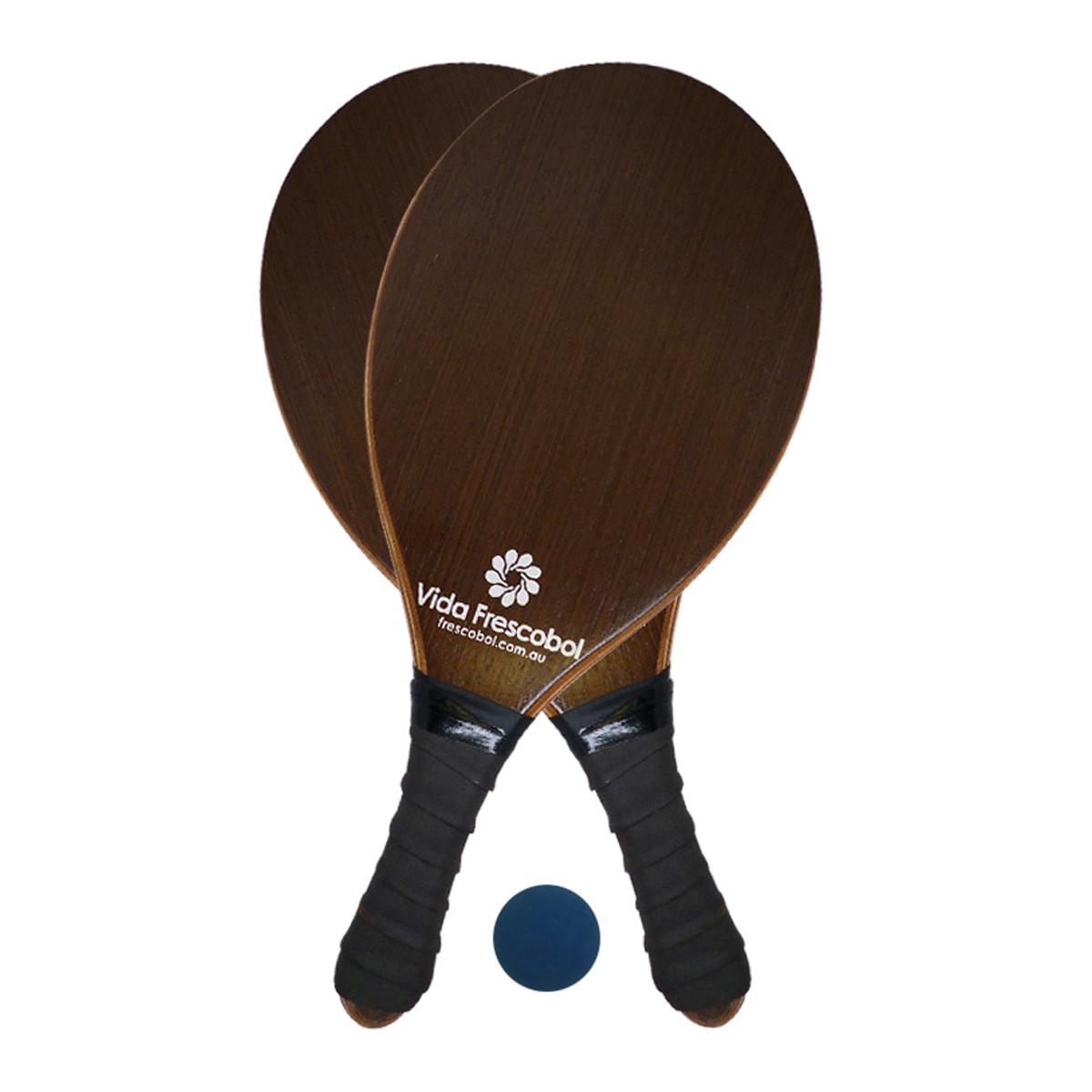 Vida Frescobol Dark Brown Beach Paddleball Racquet Set